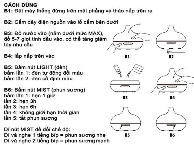 các bước sử dụng máy phun sương tinh dầu hiệu quả